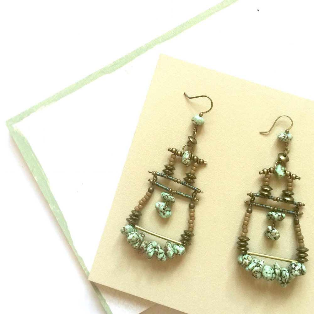 Mint and Brass Statement Earrings Retail Value: $42 EricaKaneFink