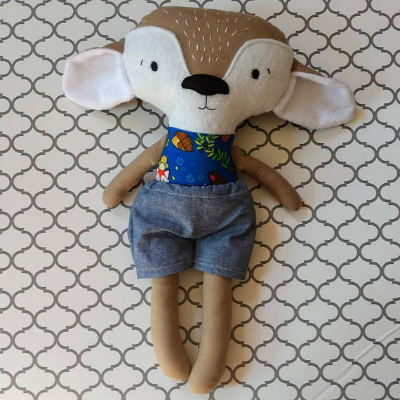 Fawn Baby Deer Doll Stuffy With Shorts Retail Value: $30 Stitches By Lydia