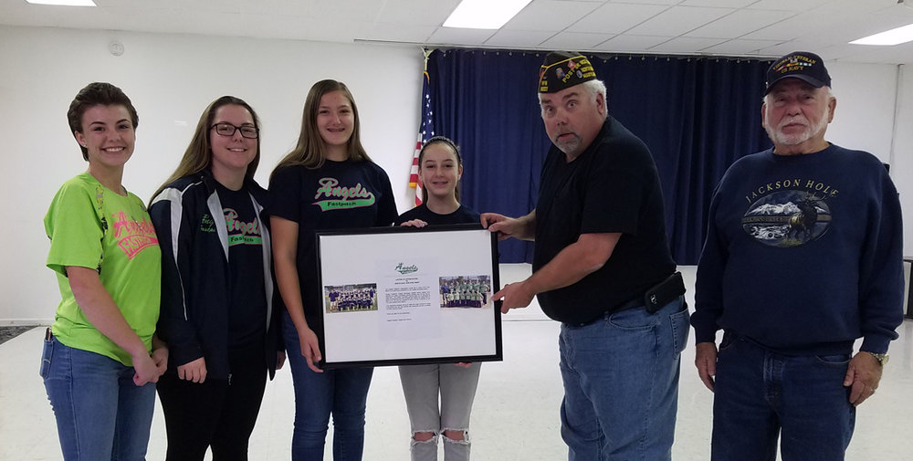 Coach DJ would like 'thank you for your support North East VFW Post #6027. from left - Jill Emery 18u, MacKenzie Smith 18u,  Maddie Husfelt 16u, Hannah Gordon 16u.  Ken Perry; Commander AND Paul Kehnast;Judge Advocate.