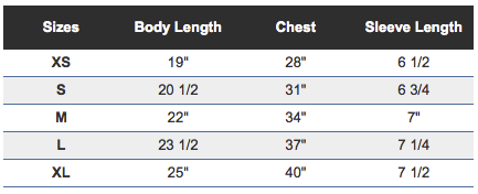 Youth Tee Sizing Chart