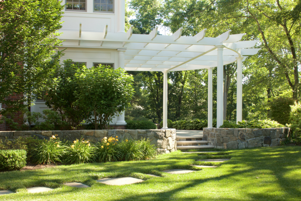 Pergola and landscape construction in Bedford, NY