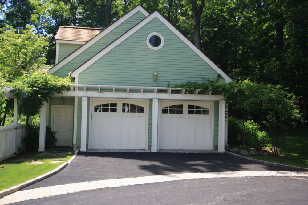 New home garage construction and addition and landscaping in Greenwich, CT
