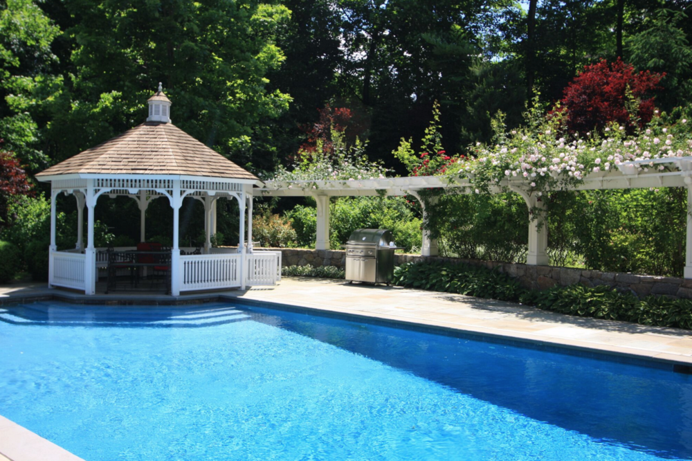swimming pool and gazebo in Greenwich, CT