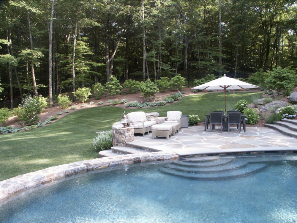swimming pool natural stone masonry in Fairfield, CT