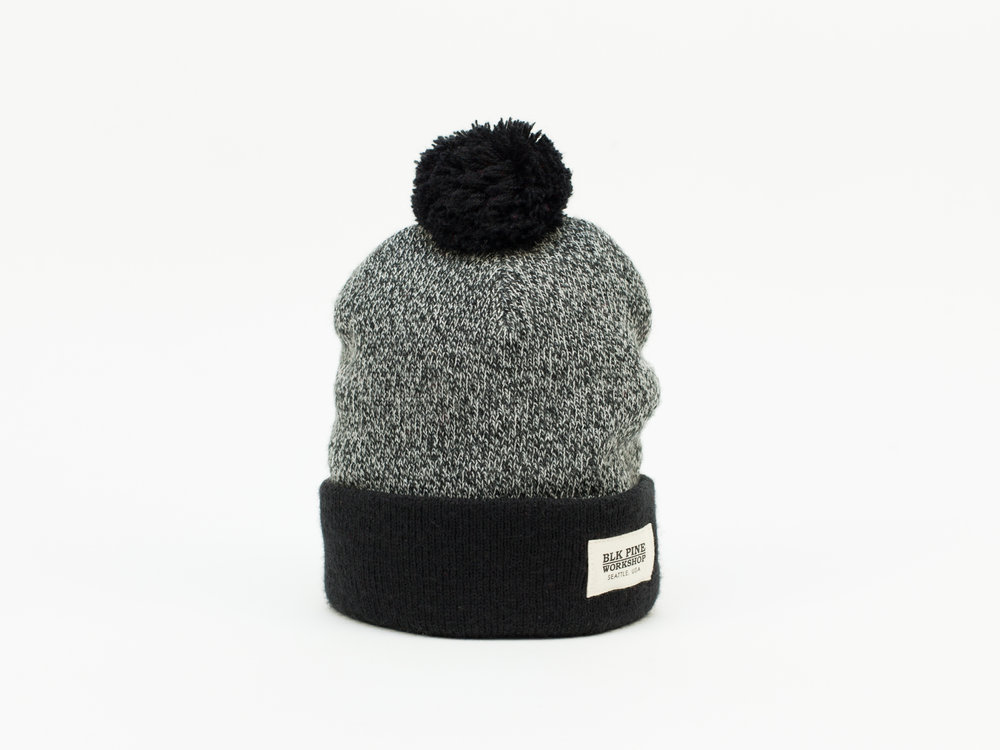447c8d23a85 Tight Knit Contrast Pom Pom Beanie - Black — BLK PINE WORKSHOP