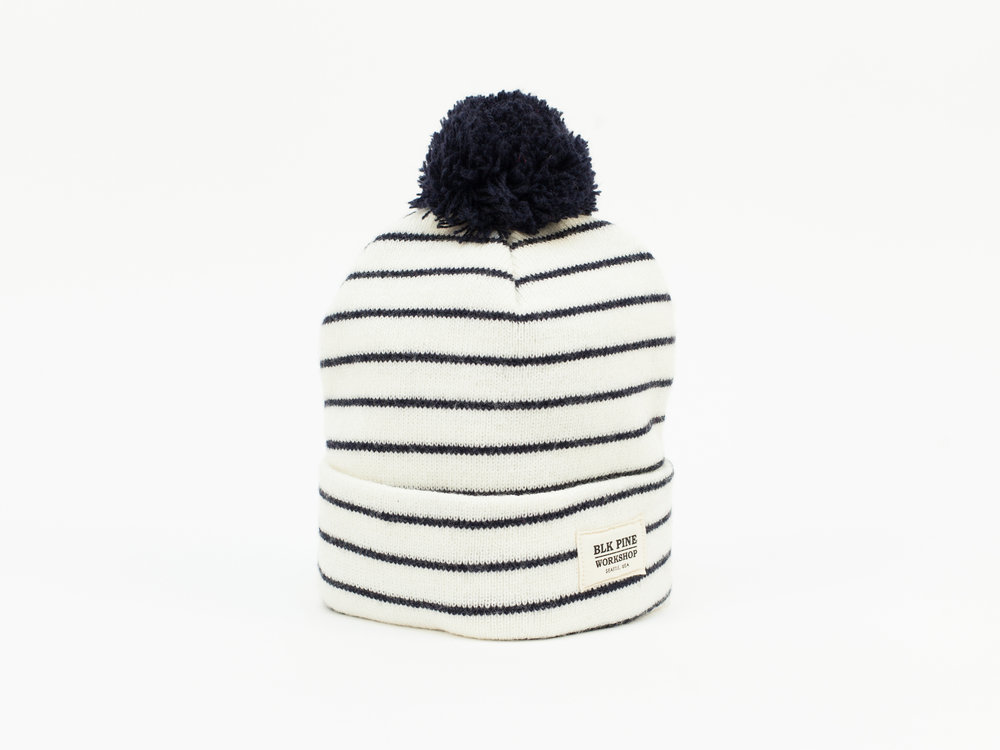 92a7ffe9e39 Tight Knit Pom Pom Beanie - White with Navy Stripes — BLK PINE WORKSHOP