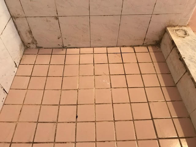 The Bathroom Tile Is Covered In Soap Scum, Mold, And Cracking