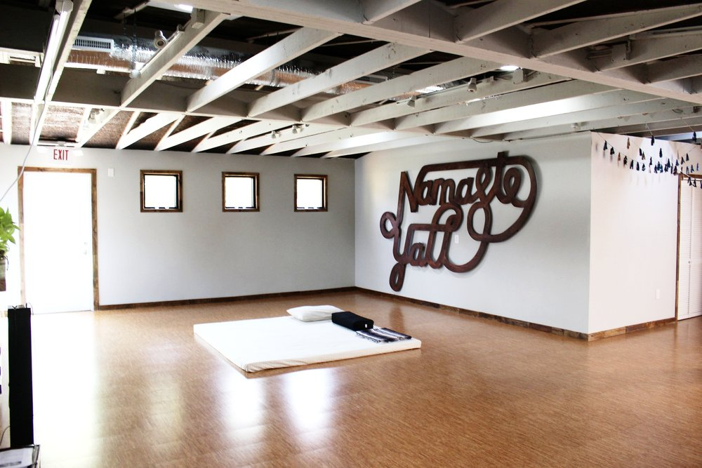 The yoga studio is a serene and versatile space is also used for Thai body work sessions.