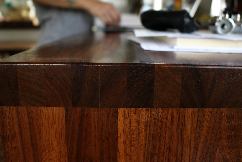 A custom desk with gorgeous natural grain.