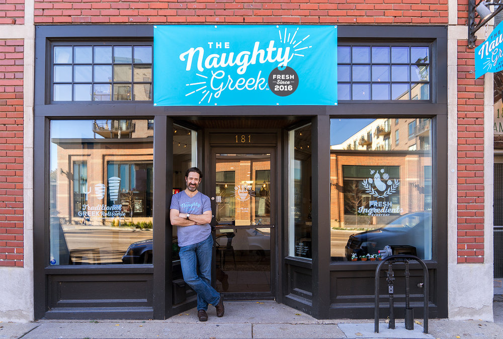 Angelo, in front of the Naughty Greek at Snelling