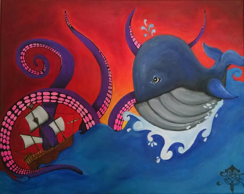 A collaborative piece by my wife Sarah and I. She drew the ship, whale and waves, and I added tentacles and painted it up.