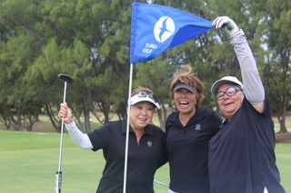 Val Vares (right) celebrating her Hole in One on #10 with playing partners Janet Shadron and Susan Church @ the 2016 HSWGA Fall Fest Tournament held at Hawaii Kai Golf Course.