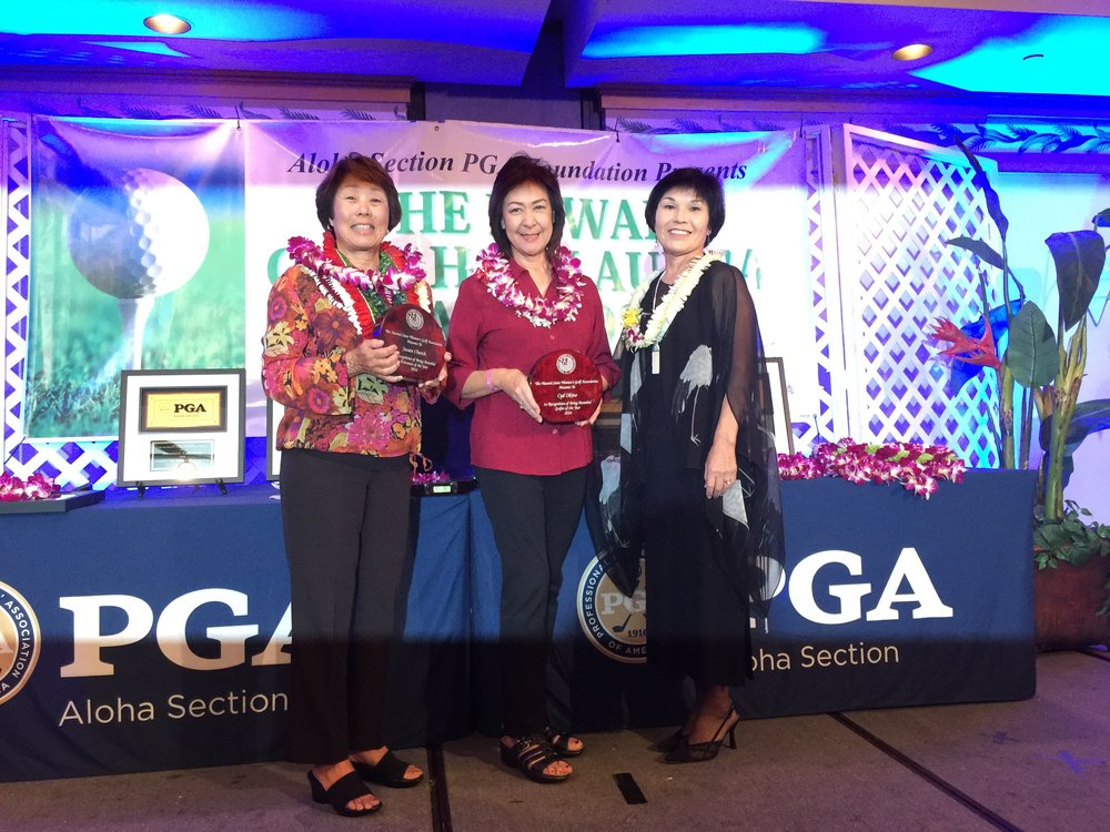 Susan Church, Lori Okino (Cyd's Mom) and Gwen Omori (HSWGA Pres.)