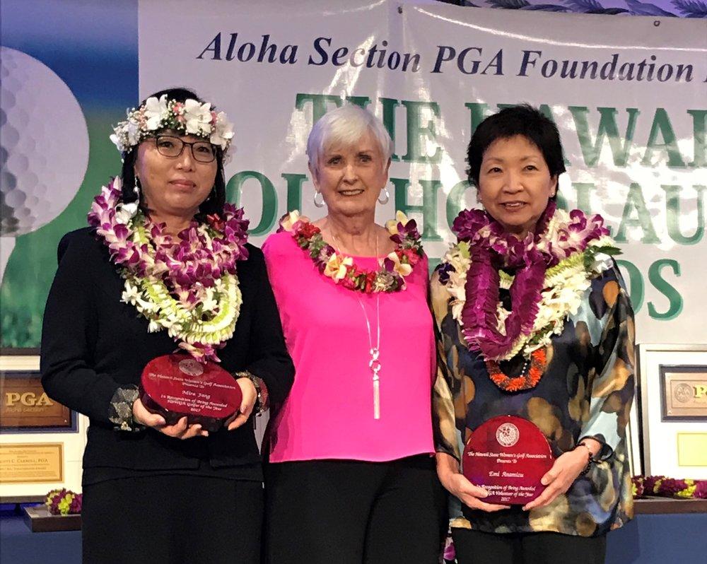 Mira Jang, Barbara Schroeder (HSWGA Pres.) & Emi Anamizu