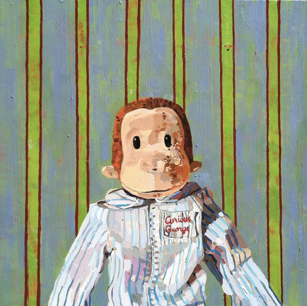 "Benton's Curious George Doll, 2015, 24""x24"", oil on canvas"