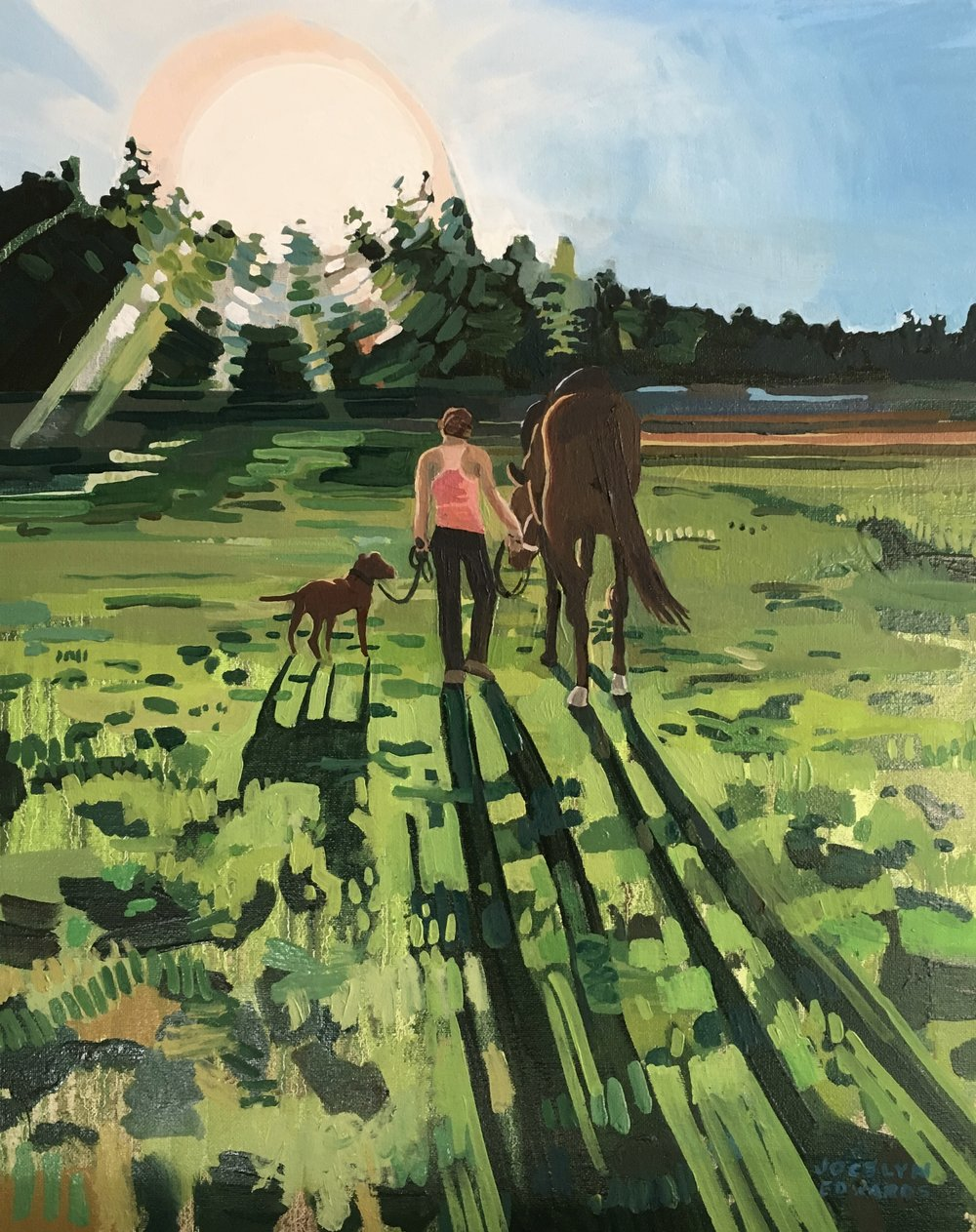 """Daughter with horse and dog, 2016,16""""x20"""", oil paint on canvas"""