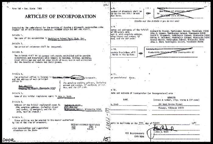 Articles of Incorporation were filed with the Wisconsin Secretary of State on September 2, 1983.
