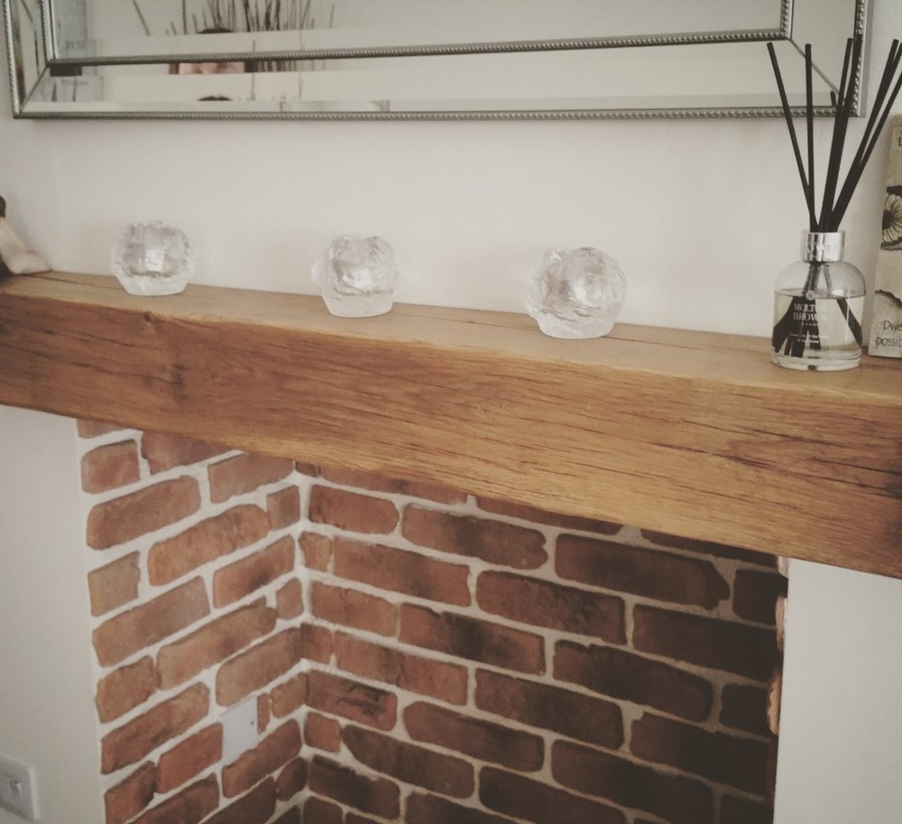 Here is an Air Dried oak mantel with a waxed finsih