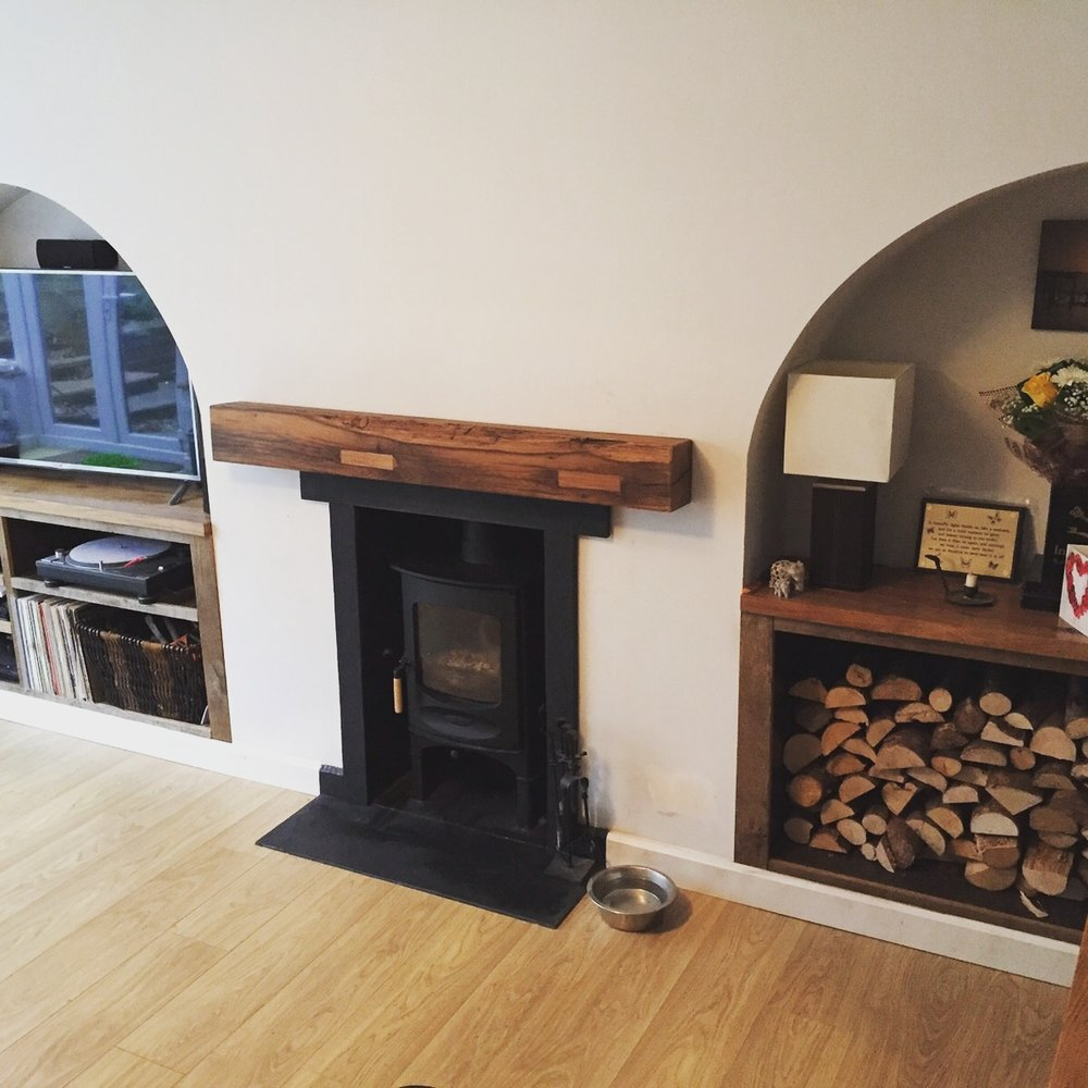 Reclaimed Oak Sawn mantel