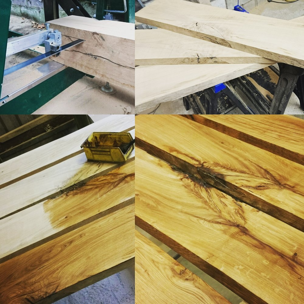 Oak shelves being cut, prepared and waxed