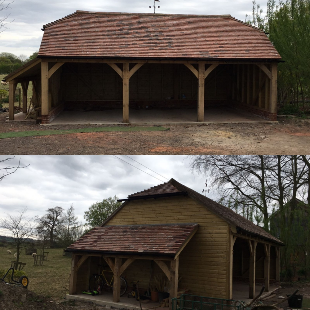Oak framed garage with log store