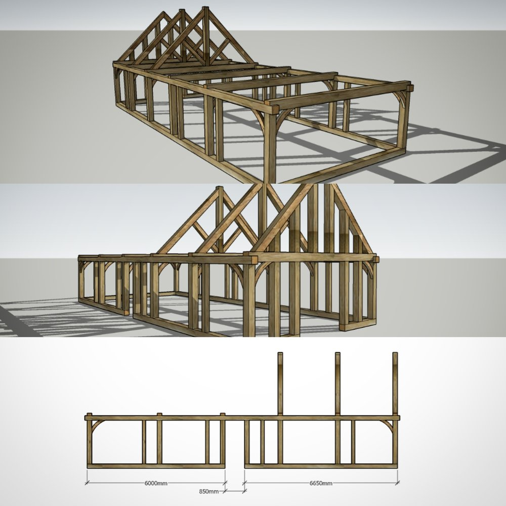 Frame design fro the garage below