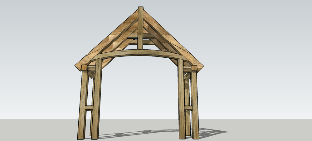 This oak porch has a curved tie beam. Stunning