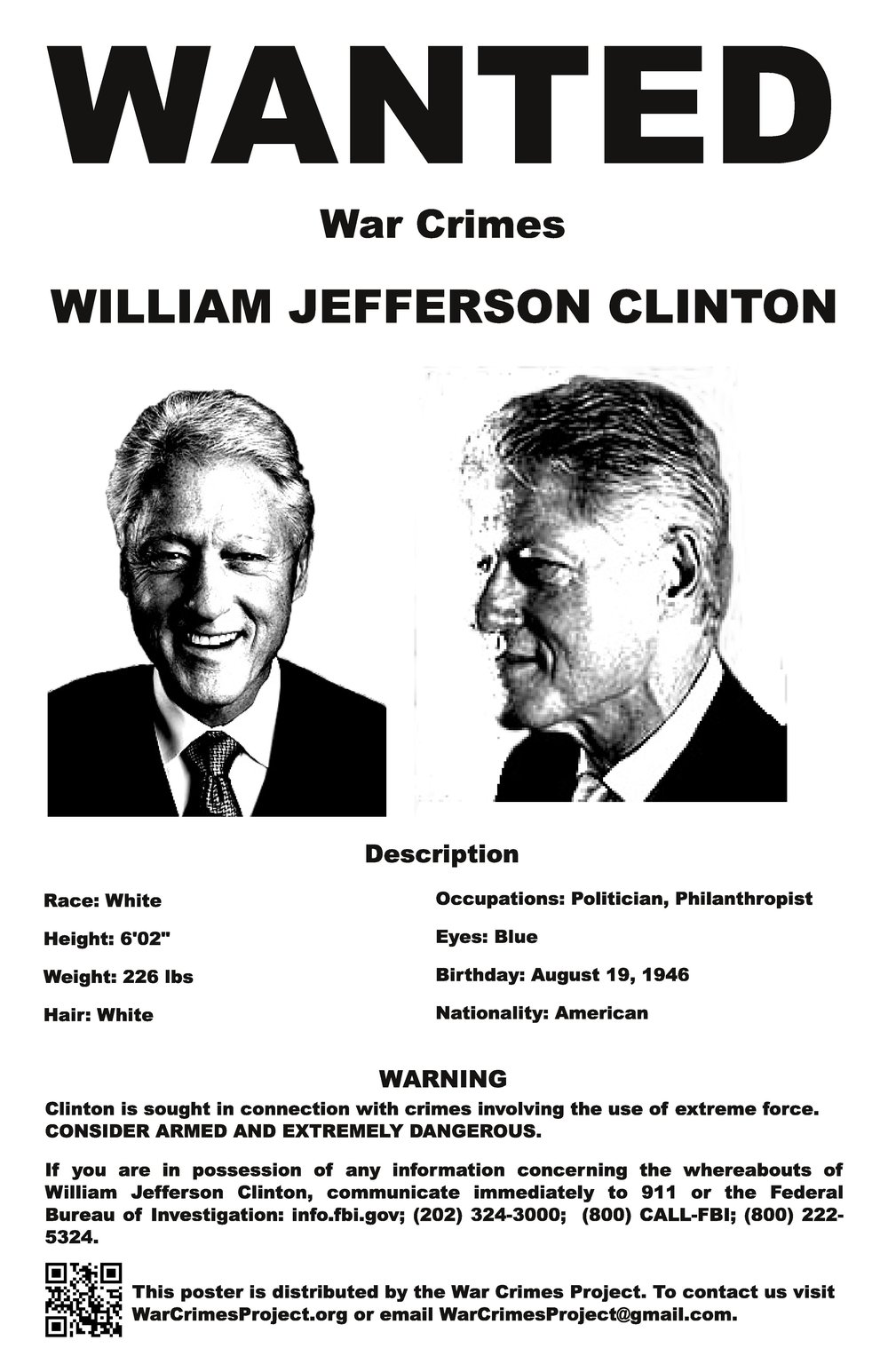 Clinton Wanted Poster