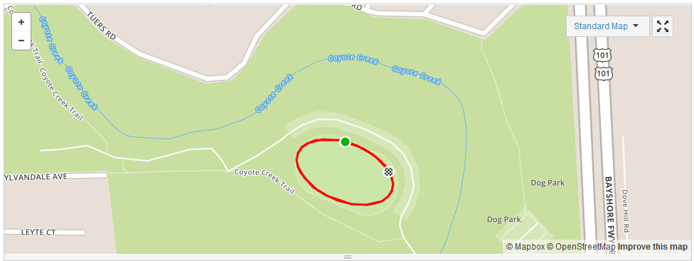 Strava Spoofer ride at Hellyer Park velodrome in San Jose, California