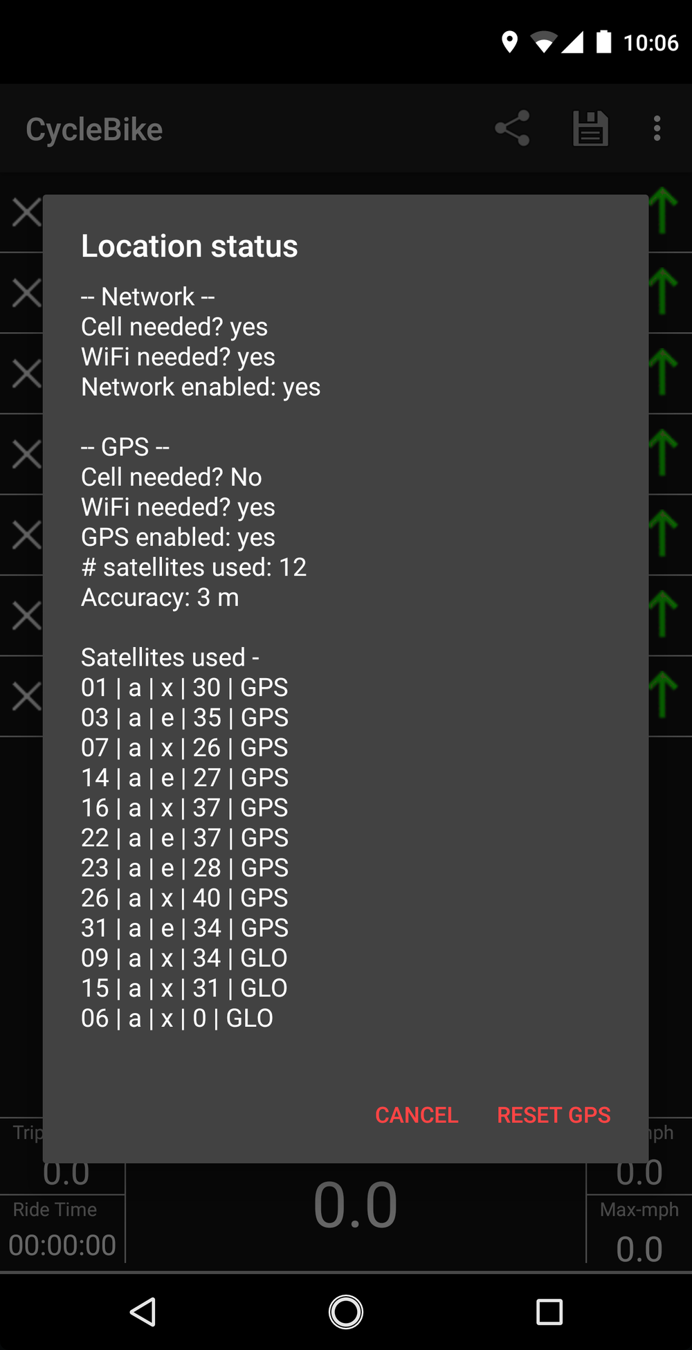 - GPS satellite status message showing #satellites used, location accuracy, satellite number,(a)lmanac updated, (e)phemeris updated, signal-to-noise ratio, and satellite type. The reset button may help acquire satellites faster.