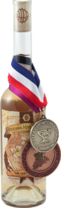 A Bottle of Meadowfoam Traditional Mead with Mazer Cup Awards Medals