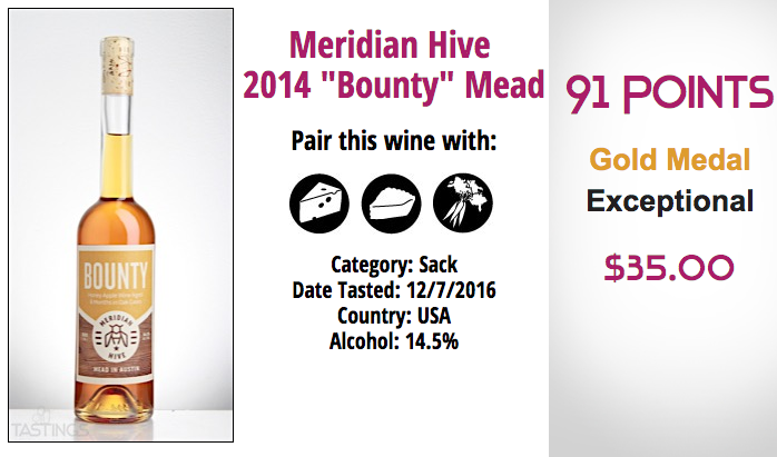 Tastings Rating 91 points for Meridian Hive Bounty