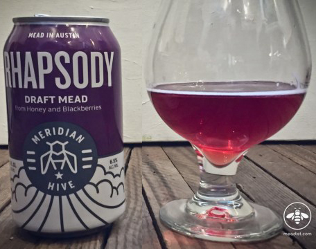 Meridian Hive Rhapsody Sparkling Mead in a Can and glass