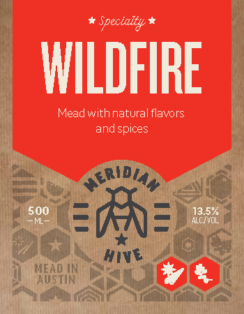 Wildfire Mead with natural flavors and spices, label