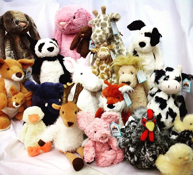 We have a whole zoo of #jellycats and #douglas animals for your baskets! @jellycat_official #neworleans #frenchmarket #littletoyshop #nola #easter #jellycats #bunnies #specialtytoystore