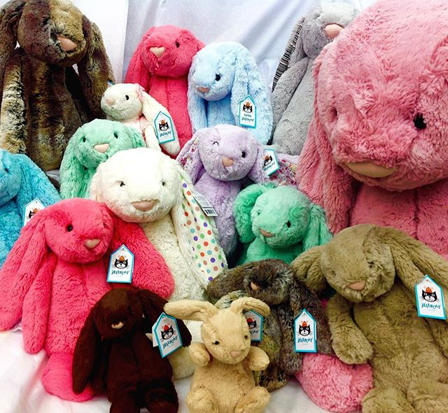 We have all the bunnies for your baskets! @jellycat_official #neworleans #frenchmarket #littletoyshop #nola #easter #jellycats #bunnies #specialtytoystore