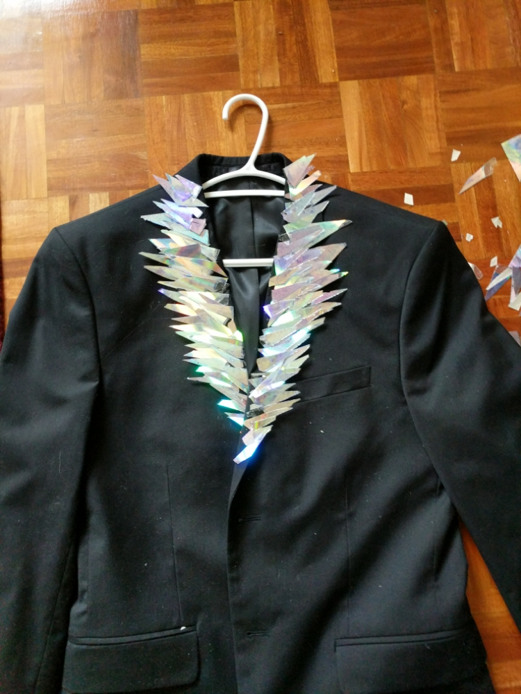The jacket with the lapels mostly finished
