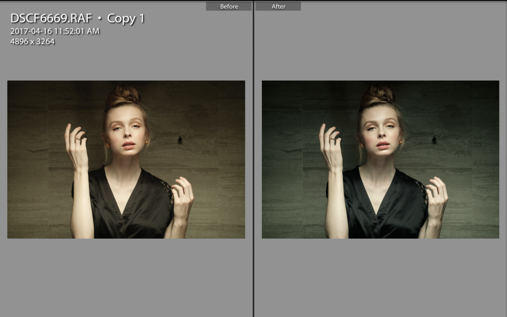 Before and after colour correction