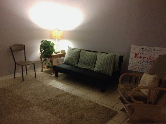 The sitting area of an apartment Merinda helped set-up.