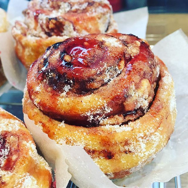 #Sunday #bakery #experiment is a #peanutbutter & #raspberry #jam #bun @tootingmarket #nuvolalittlebakery #alittlebakery #yummy #delicious #breakfast #brunch #teatime #sweettreats #tooting #london