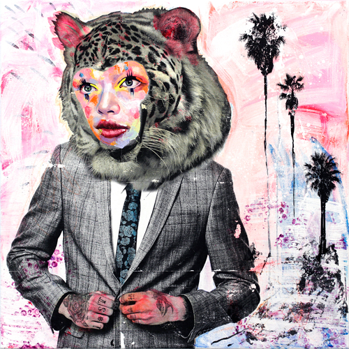 AM DeBrincat, Malibu Thunder. Acrylic, transfer print, and oil paint on canvas, 24 x 24 in.