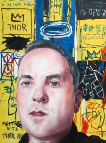 Noah Becker. Self Portrait, (Basquiat). 2013. 36 x 48 inches. Oil on canvas.