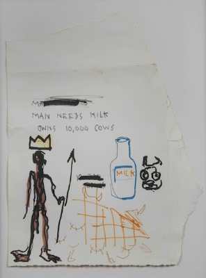 Jean-Michel Basquiat. Man Needs Milk. (1981). Mixed media on paper. 12 x 8 inches. Collection of Justin Warsh.