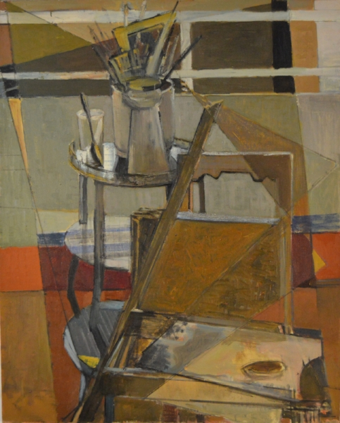 Marguerite Louppe. Chair, Brushes and Palette. Undated. Oil on canvas.  100 x 81 cm. Courtesy of David Hirsh