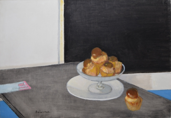 Maurice Brianchon. Nature Morte aux Brioches. 1970. Oil on canvas. 65 x 92 cm.  Courtesy of David Hirsh