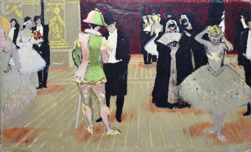Maurice Brianchon. Bal Masque. 1948. Oil on panel. 33 x 55 cm. Courtesy of David Hirsh.