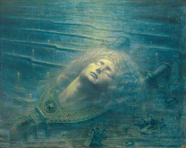 Jean Delville.The Death of Orpheus (Orphée mort), 1893. Oil on canvas, 79.3 x 99.2 cm. Royal Museums of Fine Arts, Belgium © 2017 Artists Rights Society (ARS), New York/SABAM, Brussels. Photo: © Royal Museums of Fine Arts, Belgium, Brussels: J. Geleyns-Ro scan.