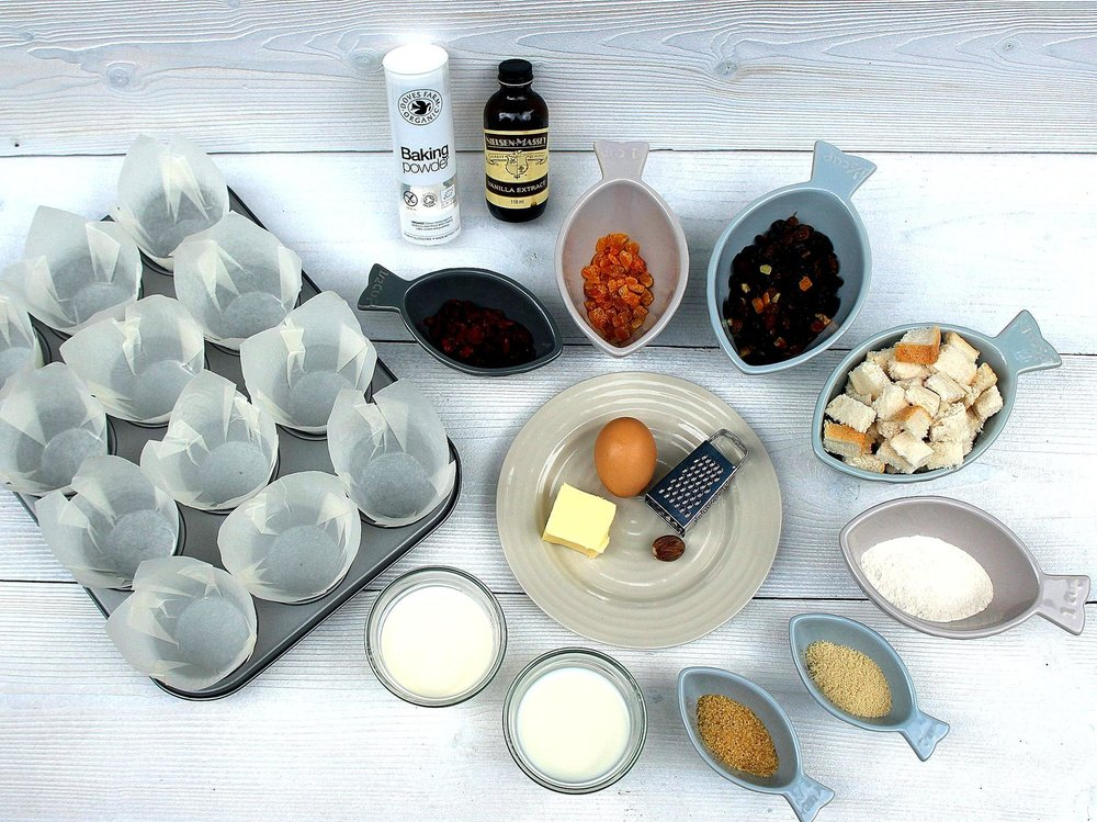 Assemble ingredients, line muffin tray