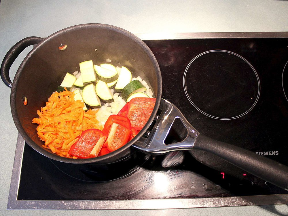 Fry the vegetables over a medium heat