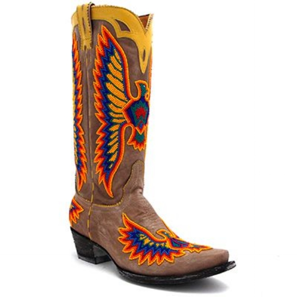 "Old Gringo's ""Eagle Chaquira"" stood out to me mainly because they're beaded! I love this look and have a feeling we're about to start seeing this trend A LOT. They are $1,309.99."